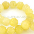 JADE GEMSTONES BEADS - YELLOW JADE BEADS SWIRL 12MM